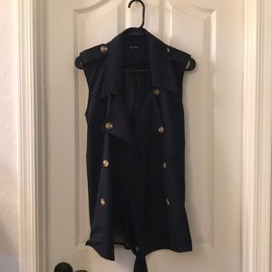 Navy Collared Button Vest with Tie back
